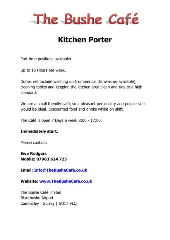 The Bushe Cafe  Now Hiring  Kitchen Porter
