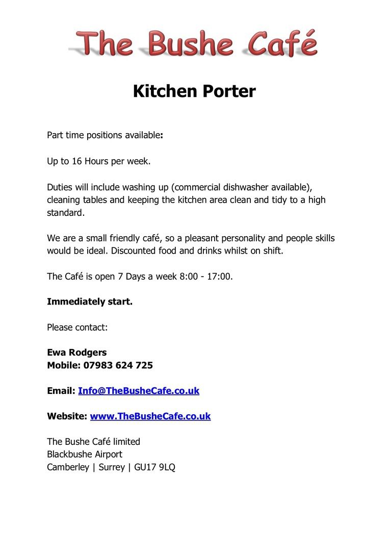 The Bushe Cafe - Now Hiring - Kitchen Porter